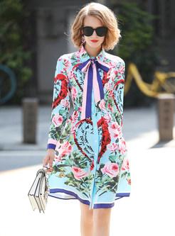 Fashion Floral Print Lapel Tied Skater Dress