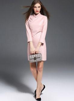 Pink Stand Collar Leather Cheongsam