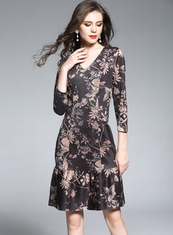 Black Print V-Neck Splicing A Line Dress