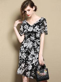 Black Print Tied Casual A Line Dress