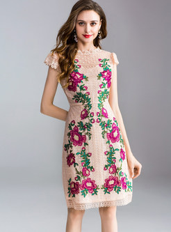 Hollow Out Flower Embroidery A Line Dress