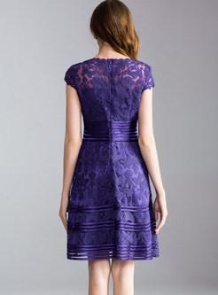 Purple Short Sleeve Embroidery A Line Dress