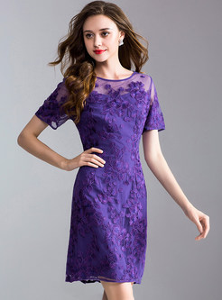 Purple Gauze Perspective Embroidery Bodycon Dress