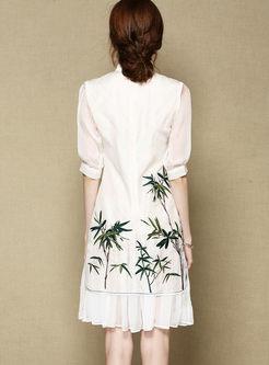 White Silk Embroidered Bamboo Shift Cheongsam