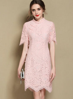 Pink Lace Hollow Out A Line Dress