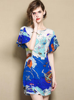 Blue Fashion Print Silk A Line Dress
