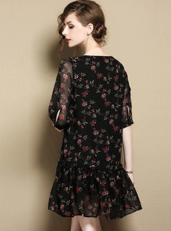 Black Floral Print Tied Shift Dress
