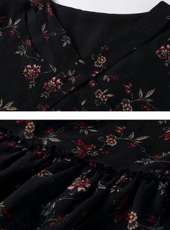 Black Floral Print Tied Shift Dress