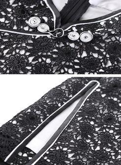 Black Slim Zipper Lace Slim Cheongsam