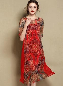 Vintage Silk Print Loose Coast Dress With Underskirt