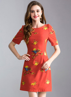 Red Embroidery Slim A Line Dress