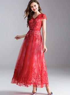 Lace Nail Bead Slim Prom Dress