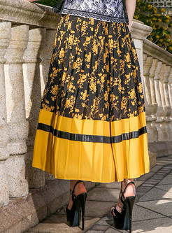 Floral Print Splicing Pleated Skirt