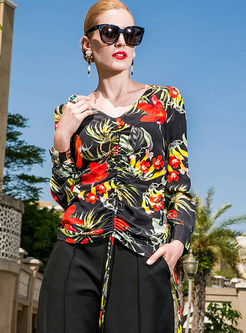 Sexy V-neck Digital Print Blouse
