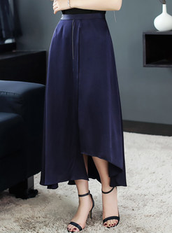 Navy Blue Slit Asymmetric Skirt