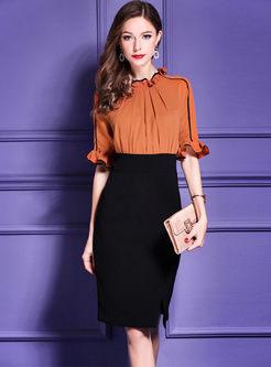 Orange Falbala High Waist Split Bodycon Dress
