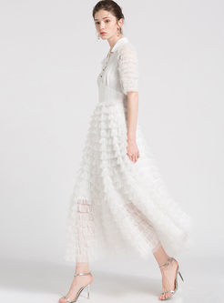 White Sweet Stitching Gauze Layered Dress