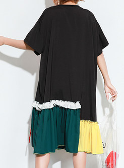 Street Splicing Patchwork Embroidery T-shirt Dress