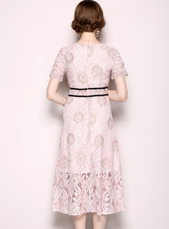 Lace V-neck Hollow Out Midi Dress