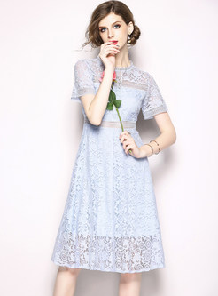 Blue Hollow Out Waist Perspective A Line Dress