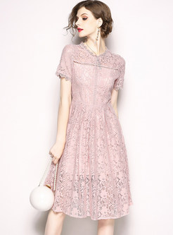 Pink Mock Neck Openwork Lace A Line Dress