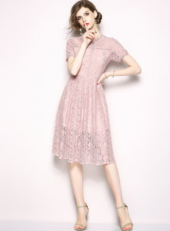 Pink Lace Short Sleeve A Line Dress