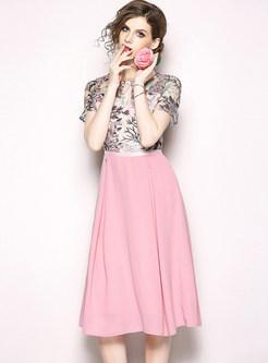 Pink Embroidery Mesh Splicing Chiffon Dress