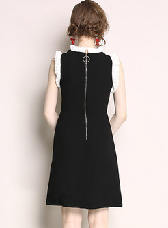 Black Sleeveless Patchwork Embroidered A Line Dress