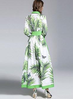 Green Fashion Printing Lapel Maxi Dress