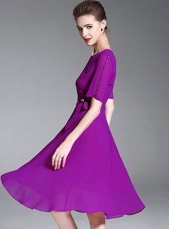 Purple Belted Big Hem Chiffon Dress