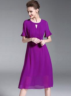 Chic Flare Sleeve High Waist Chiffon Dress