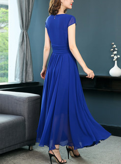 Blue Chic Gathered Waist Prom Dress
