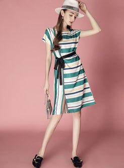 Stylish Striped Belt Split A Line Dress