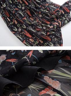 Slash Neck Printing Elastic Waist Maxi Dress
