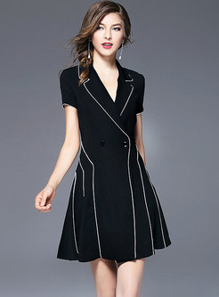 Black Notched Neck Waist A Line Dress