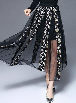 Black Floral See Through Mesh Skirt