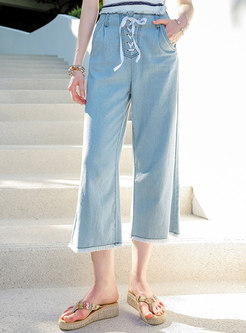 Blue Rough Selvedge Wash Denim Pants