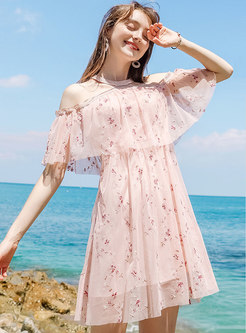 Pink Chic Off Shoulder Chiffon Dress