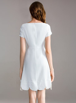 White Embroidery Tassel A Line Dress