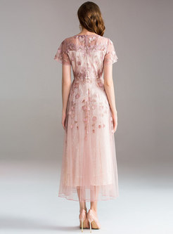 Pink Embroidered Big Hem Party Dress