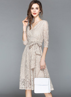 V-neck Three Quarters Sleeve Belted Lace Dress