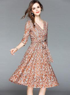 Caramel V-neck Bowknot Belted Lace Midi Dress