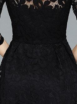 Black Three Quarters Sleeve Lace Dress