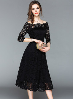 Black Three Quarters Sleeve Lace Dress