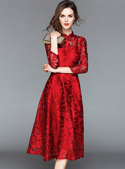 Wine Red Hollow Out Midi Dress