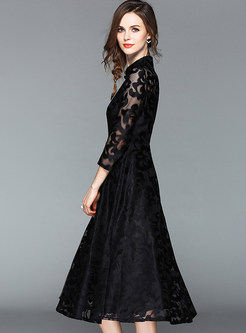 Black Retro Slim Lace A Line Dress