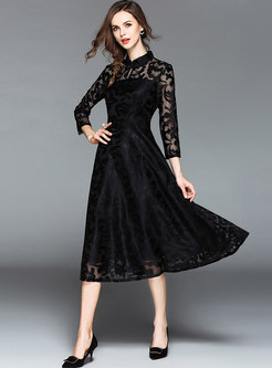 Long Sleeve Slim Lace A Line Party Dress