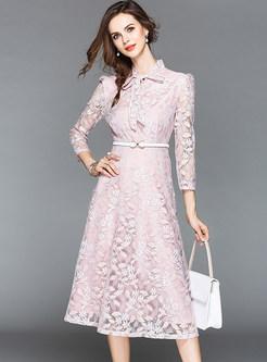 Chic Elegant Belted Perspective Midi Dress