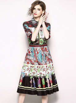 Ethnic Printing Lapel Waist Midi Dress