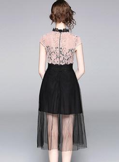 Hit Color Splicing Mesh A Line Dress